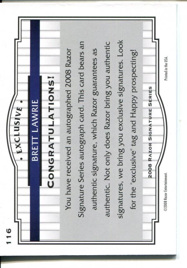 2008 Razor Signature Series Black #116 Brett Lawrie AU back image