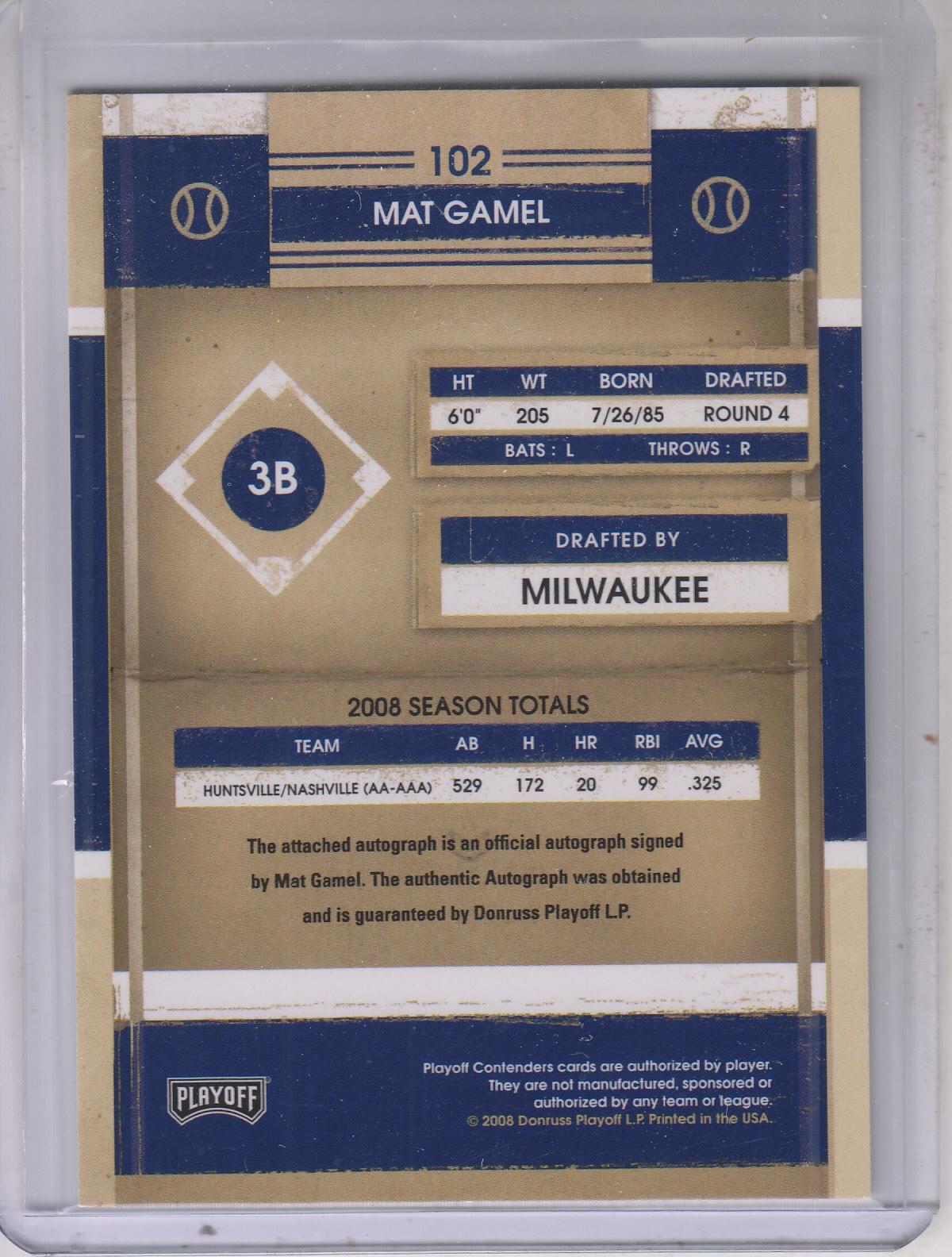 2008 Playoff Contenders #102 Mat Gamel AU back image