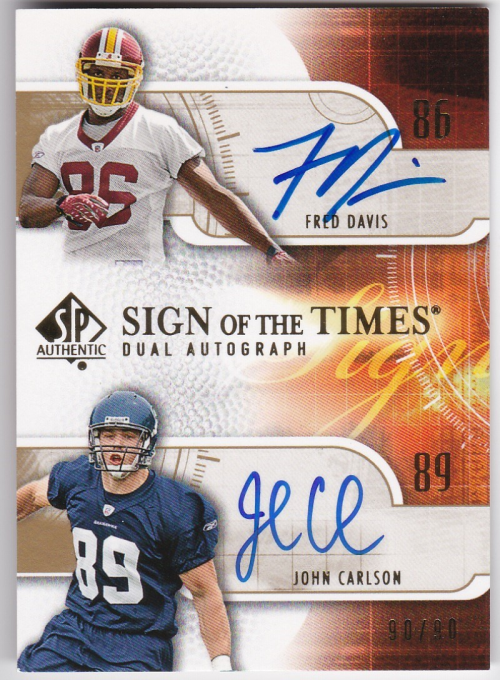 2008 SP Authentic Sign of the Times Duals #DC Fred Davis/90/John Carlson