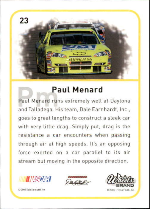 2009 Element Radioactive #23 Paul Menard back image