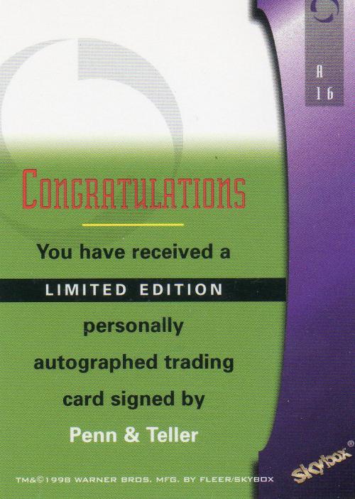 1998 Babylon 5 Season Five Autographs #A16 Penn & Teller back image
