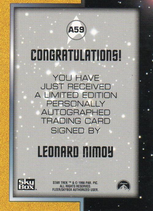 1999 Star Trek The Original Series Season 3 Autographs #A59 Leonard Nimoy back image