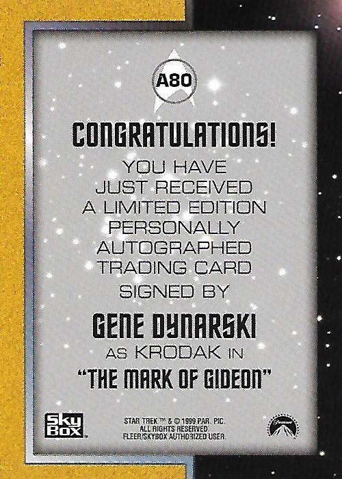 1999 Star Trek The Original Series Season 3 Autographs #A80 Gene Dynarski back image