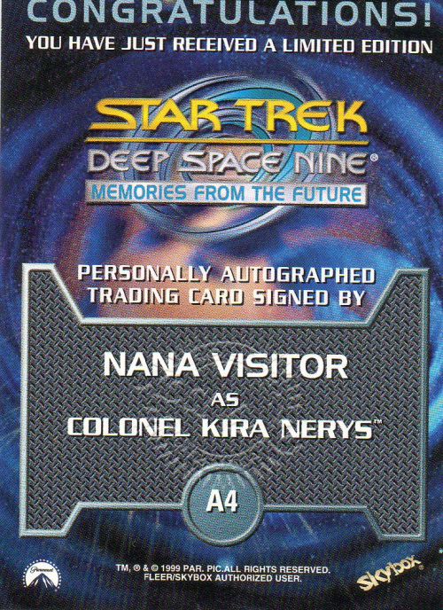 1999 Star Trek Deep Space Nine Memories from the Future Autographs #4 Nana Visitor back image