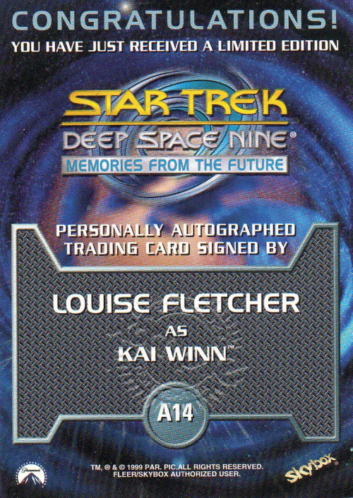 1999 Star Trek Deep Space Nine Memories from the Future Autographs #14 Louise Fletcher back image