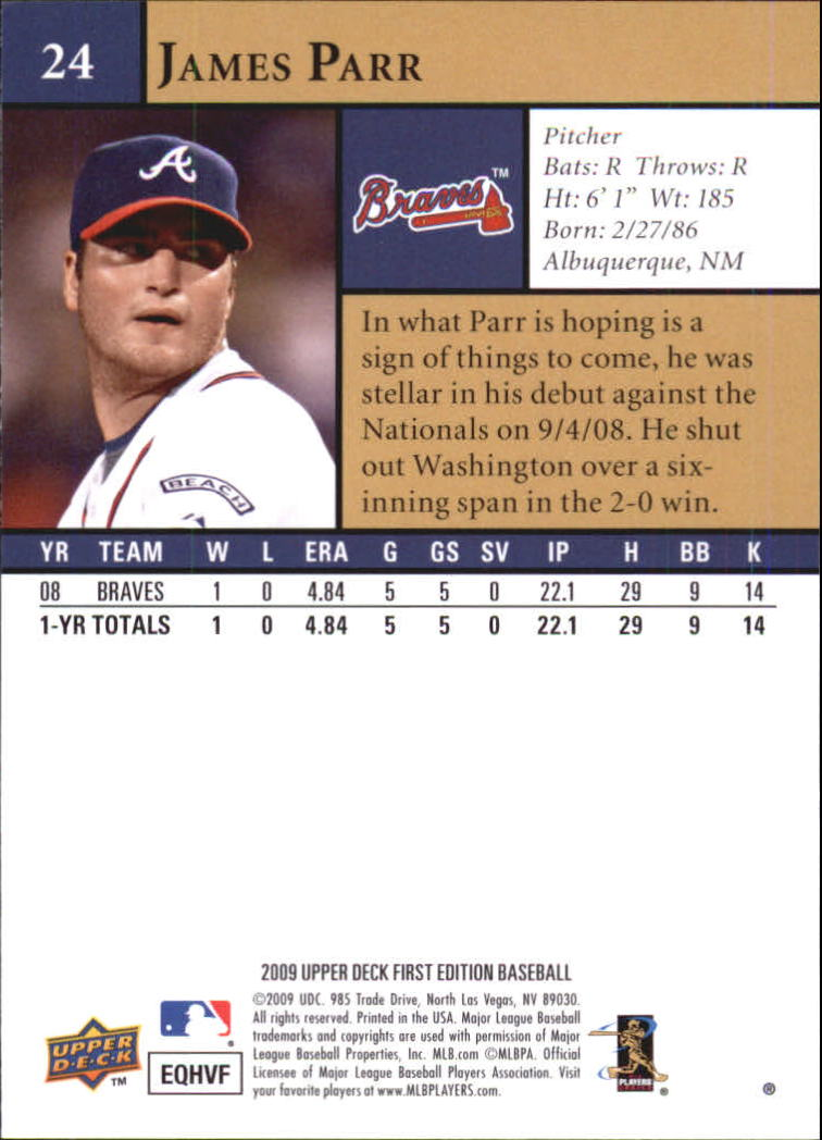 2009 Upper Deck First Edition #24 James Parr (RC) back image