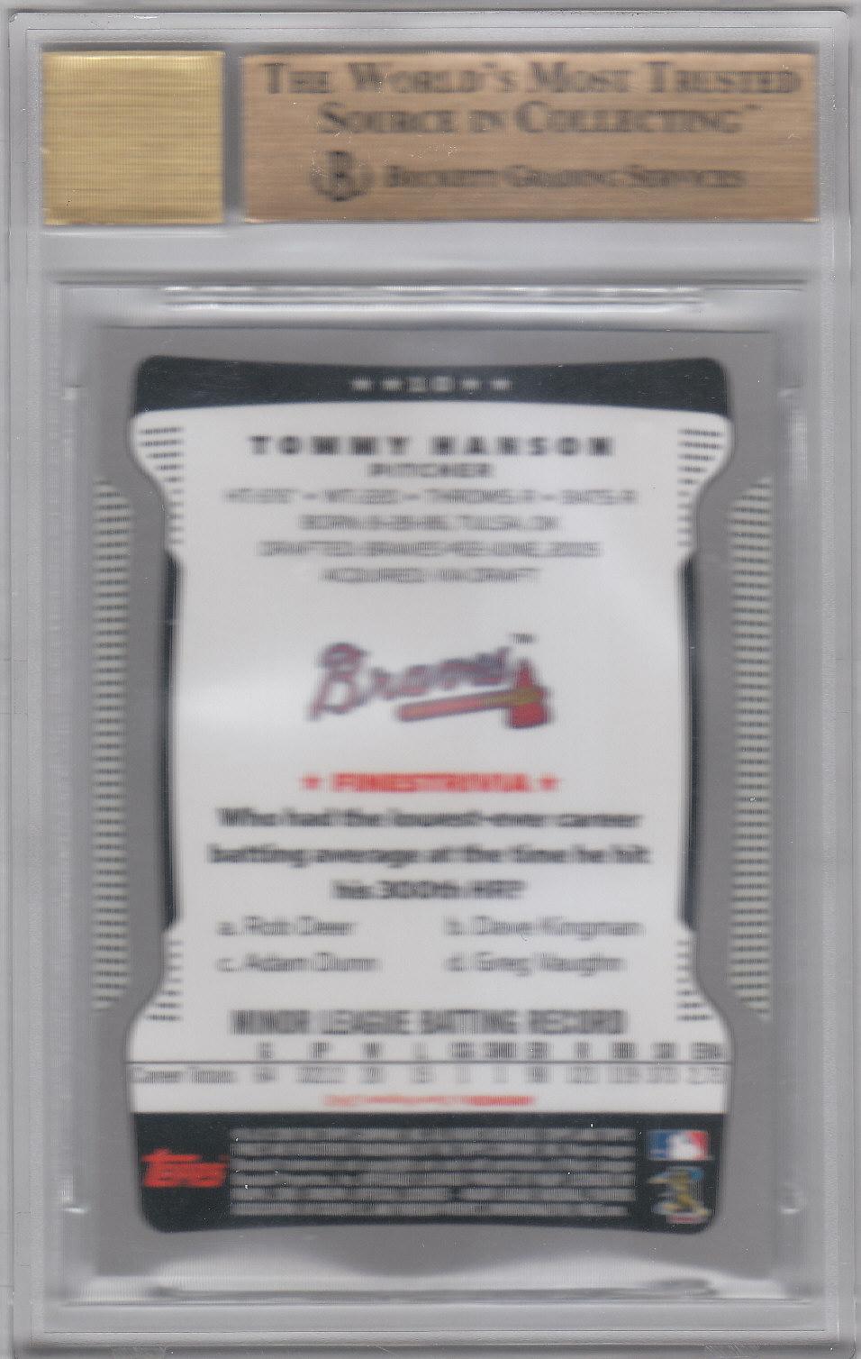 2009 Finest Rookie Redemption #10 Tommy Hanson AU back image