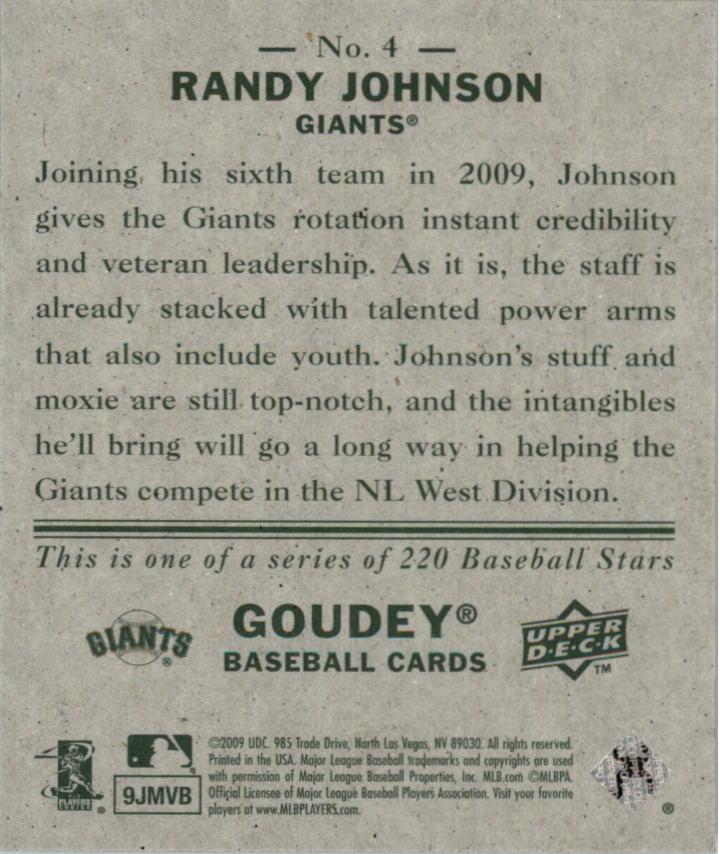 2009 Upper Deck Goudey Mini Green Back #4 Randy Johnson back image