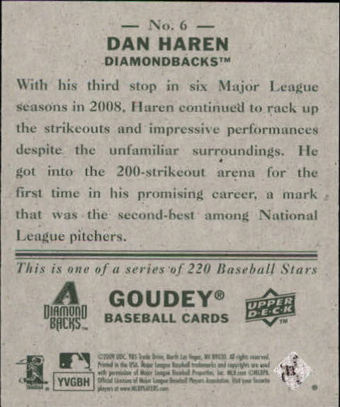 2009 Upper Deck Goudey Mini Green Back #6 Dan Haren back image