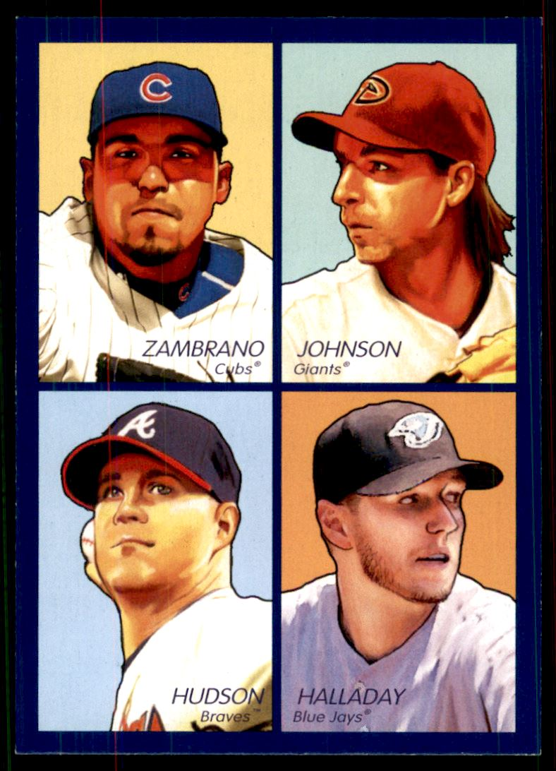 2009 Upper Deck Goudey 4-In-1 Blue #91 Carlos Zambrano/Randy Johnson/Roy Halladay/Tim Hudson