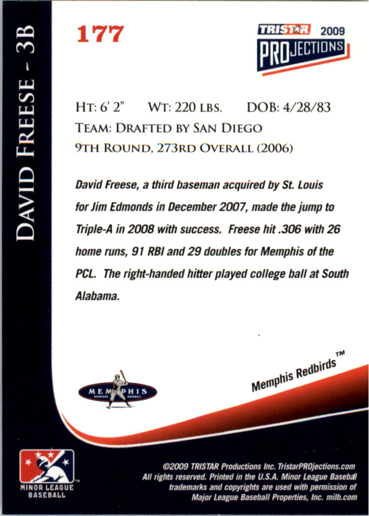 2009 TRISTAR PROjections #177 David Freese back image