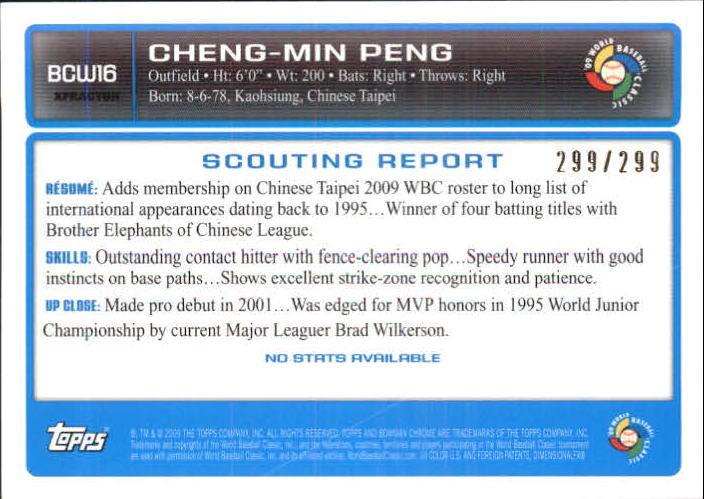 2009 Bowman Chrome WBC Prospects X-Fractors #BCW16 Cheng-Min Peng back image