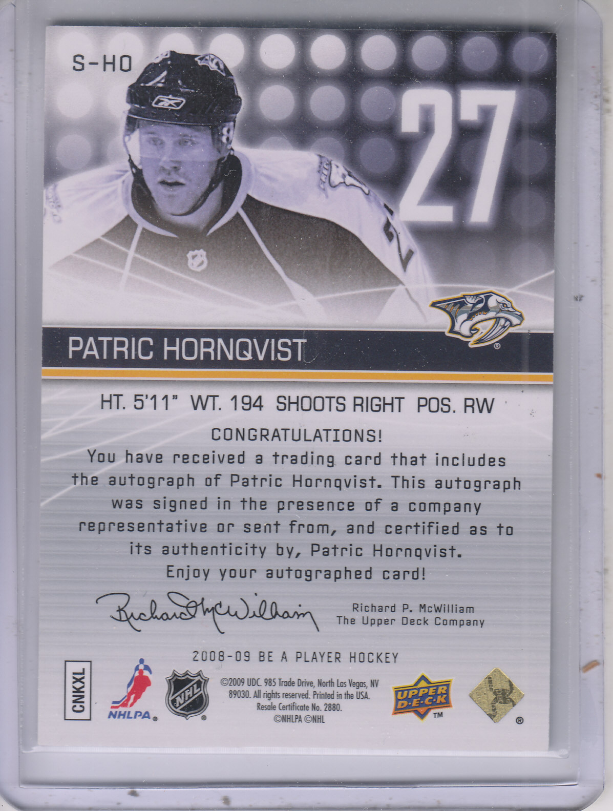 2008-09 Be A Player Signatures #SHO Patric Hornqvist back image