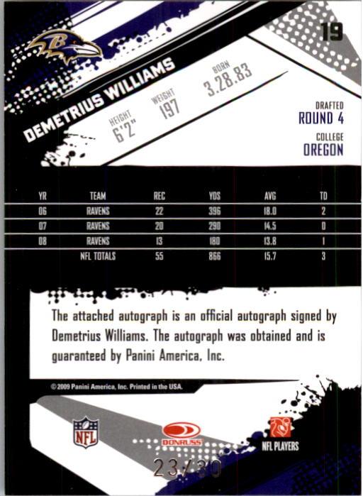 2009 Score Inscriptions Autographs Red Zone #19 Demetrius Williams/30 back image