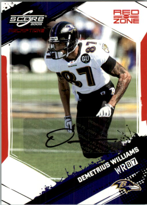2009 Score Inscriptions Autographs Red Zone #19 Demetrius Williams/30