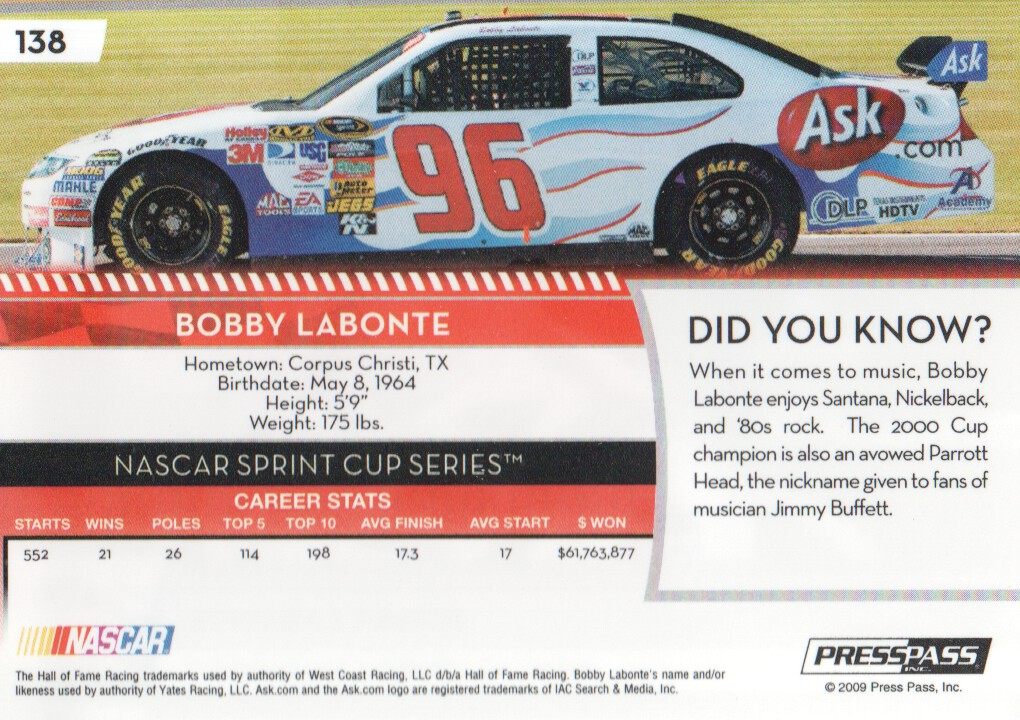 2009-Press-Pass-Parallels-NASCAR-Racing-Cards-Pick-From-List thumbnail 127