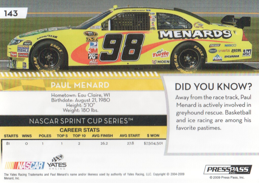 2009-Press-Pass-Parallels-NASCAR-Racing-Cards-Pick-From-List thumbnail 137