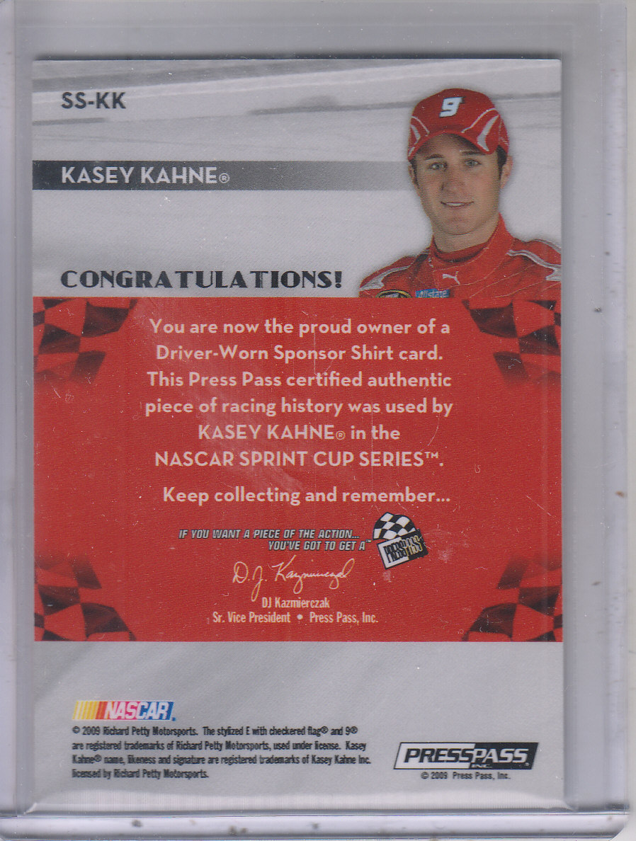 2009 Press Pass Sponsor Swatches #SSKK Kasey Kahne back image