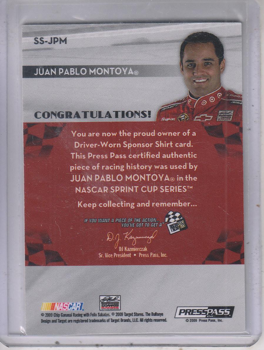 2009 Press Pass Sponsor Swatches #SSJPM Juan Pablo Montoya/250 back image
