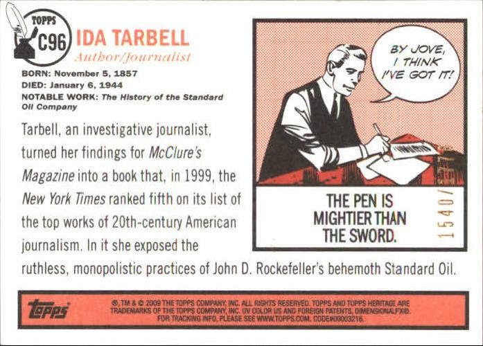2009 Topps American Heritage Heroes Chrome #96 Ida Tarbell back image