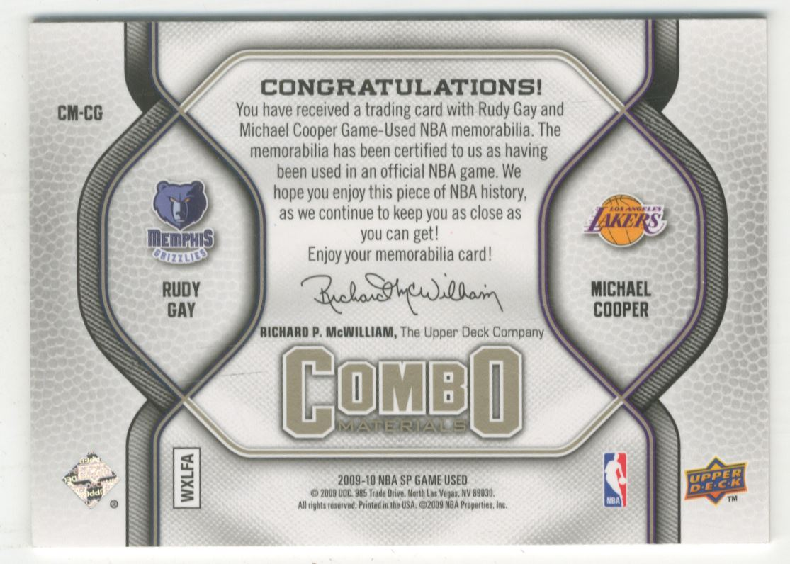 0c7ed8cd7 2009-10 SP Game Used Combo Materials 155  CMCG Rudy Gay Michael Cooper 155.  Front. Back