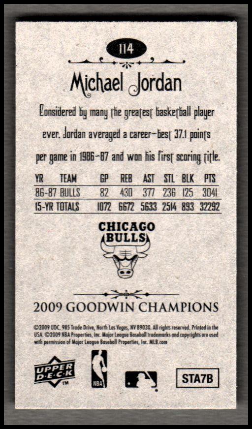 2009 Upper Deck Goodwin Champions Mini #114 Michael Jordan back image