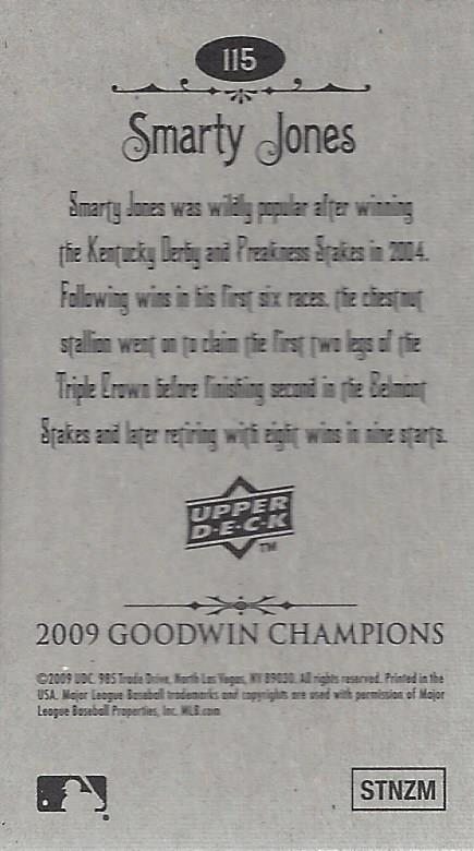 2009 Upper Deck Goodwin Champions Mini #115 Smarty Jones back image