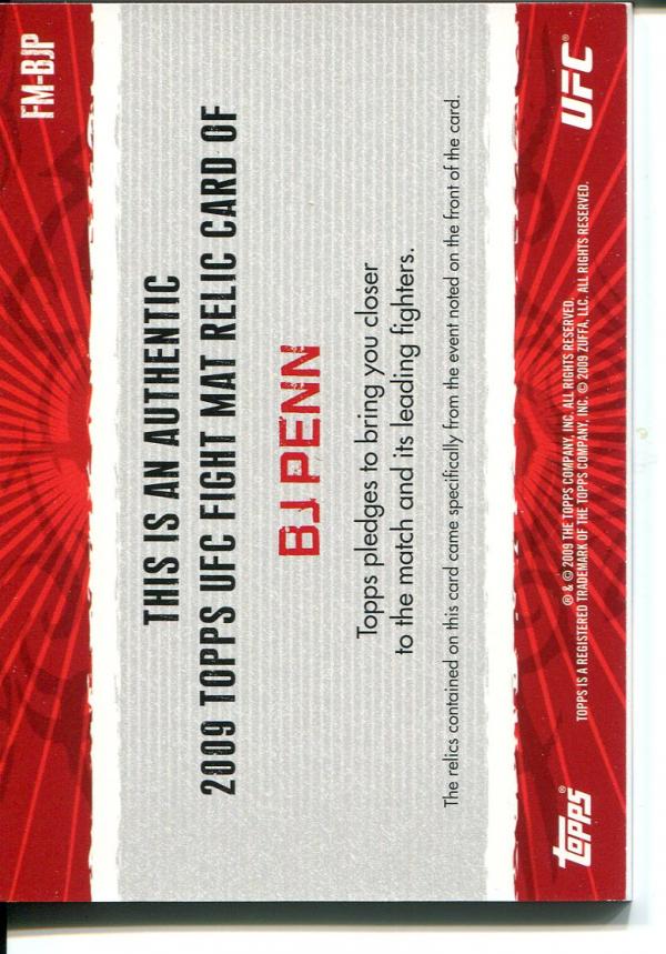 2009 Topps UFC Fight Mat Relics #FMBJP BJ Penn D back image