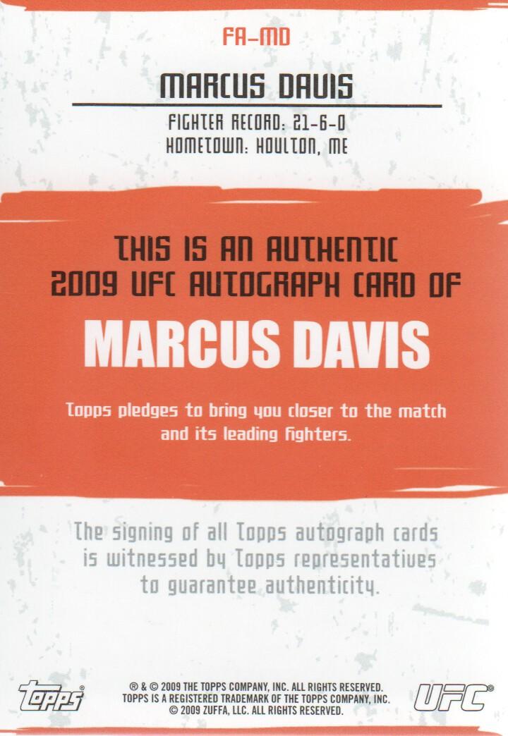 2009 Topps UFC Autographs #FAMD Marcus Davis F back image