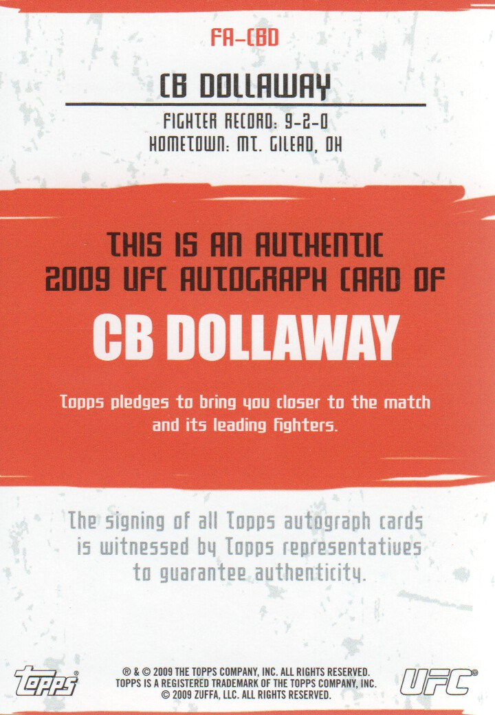 2009 Topps UFC Autographs #FACBD CB Dollaway F back image