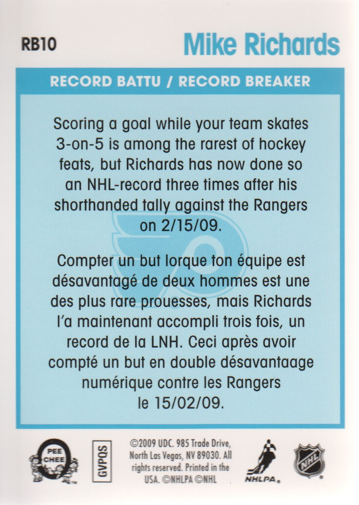 2009-10 O-Pee-Chee Record Breakers #RB10 Mike Richards back image