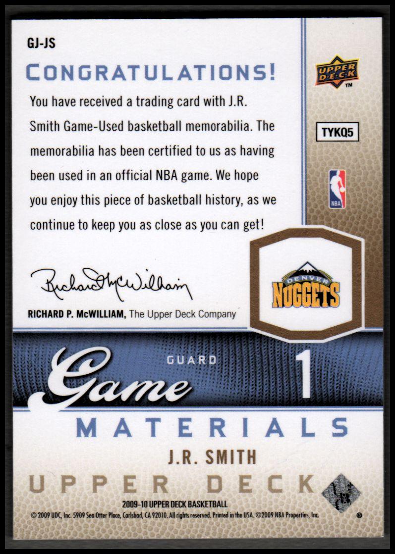 2009-10 Upper Deck Game Materials Gold #GJJS J.R. Smith back image
