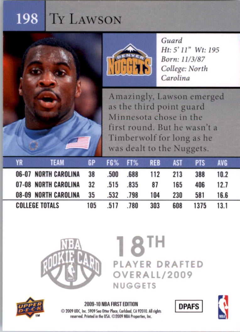 2009-10 Upper Deck First Edition #198 Ty Lawson RC back image
