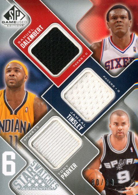 2009-10 SP Game Used Six Star Swatches #6STADCPO Jarron Collins/Mehmet Okur/Jamaal Tinsley/Gilbert Arenas/Samuel Dalembert/Tony Parker