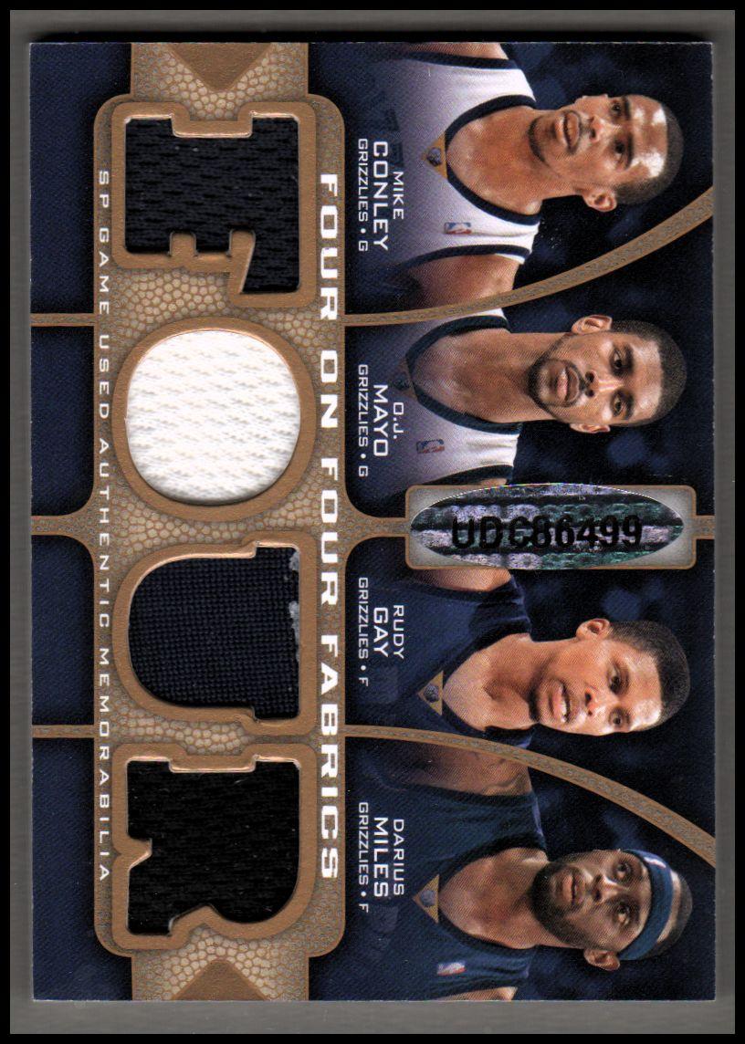 2009-10 SP Game Used 4 on 4 Fabrics 65 #FFDALMEM Gerald Green/Devean George/Jason Terry/Dirk Nowitzki/Rudy Gay/Darius Miles/O.J. Mayo/Mike Conley Jr. back image
