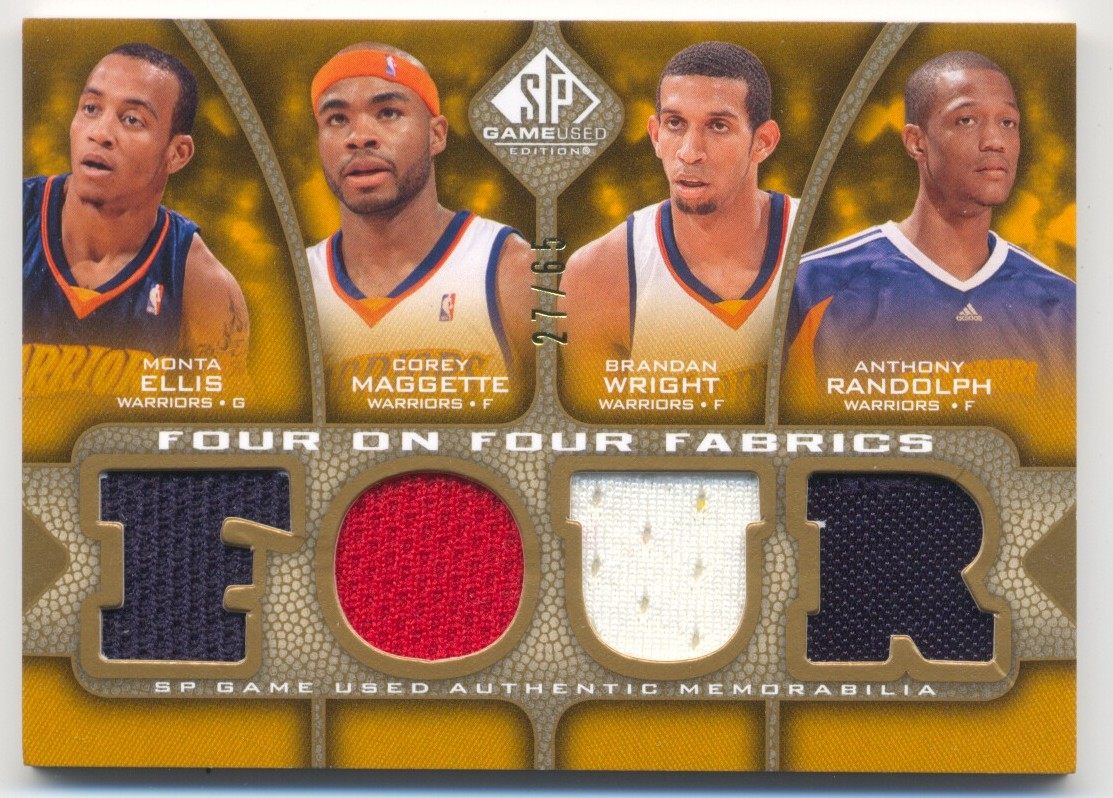 2009-10 SP Game Used 4 on 4 Fabrics 65 #FFGOLLAL Brandan Wright/Anthony Randolph/Monta Ellis/Corey Maggette/Kobe Bryant/Jordan Farmar/Luke Walton/Shannon Brown back image