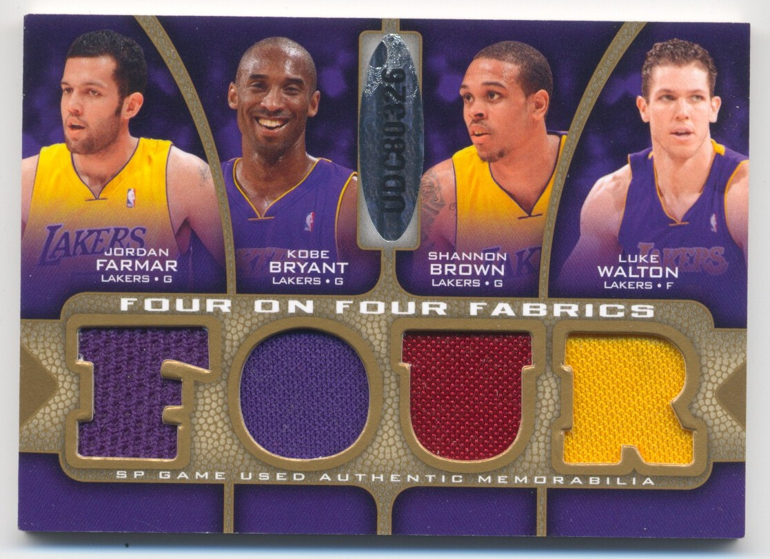 2009-10 SP Game Used 4 on 4 Fabrics 65 #FFGOLLAL Brandan Wright/Anthony Randolph/Monta Ellis/Corey Maggette/Kobe Bryant/Jordan Farmar/Luke Walton/Shannon Brown