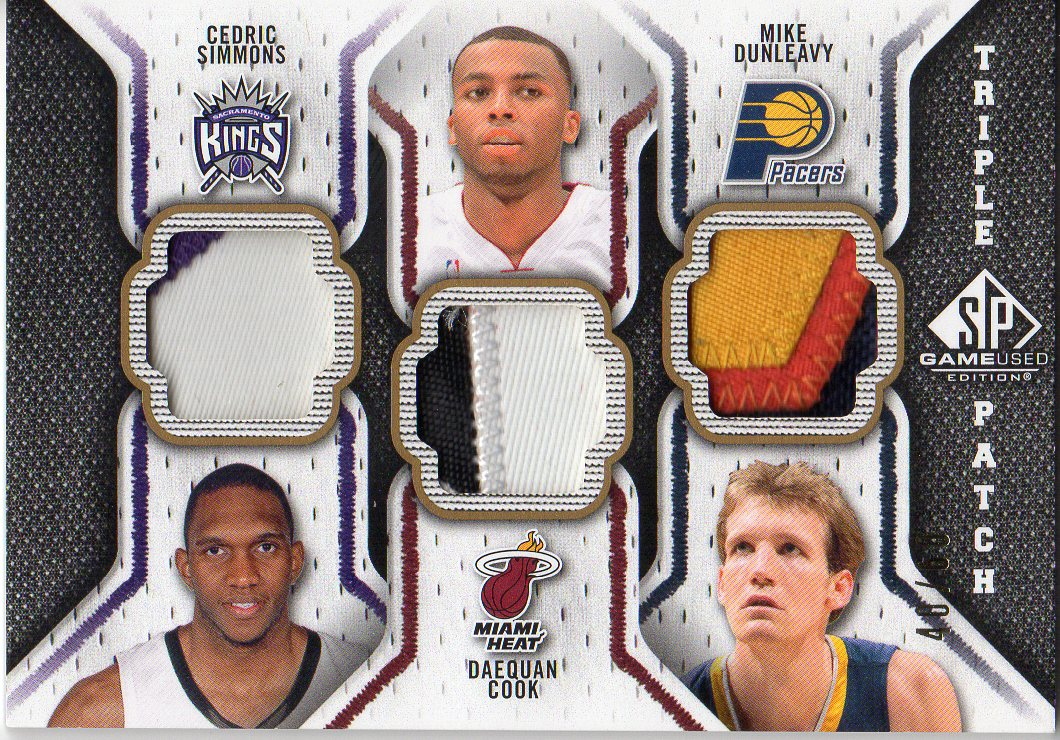 2009-10 SP Game Used Triple Patch #TPJSC Mike Dunleavy/Cedric Simmons/Daequan Cook