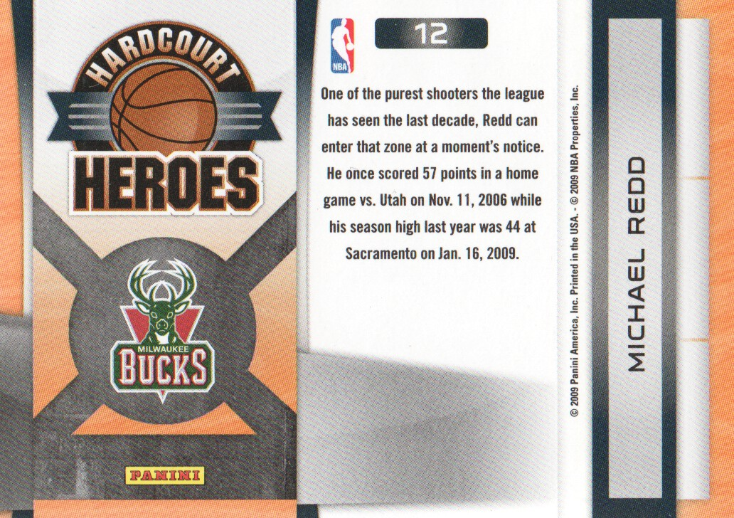 2009-10 Prestige Hardcourt Heroes #12 Michael Redd back image