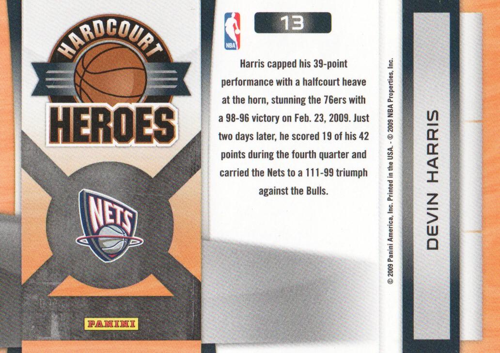 2009-10 Prestige Hardcourt Heroes #13 Devin Harris back image