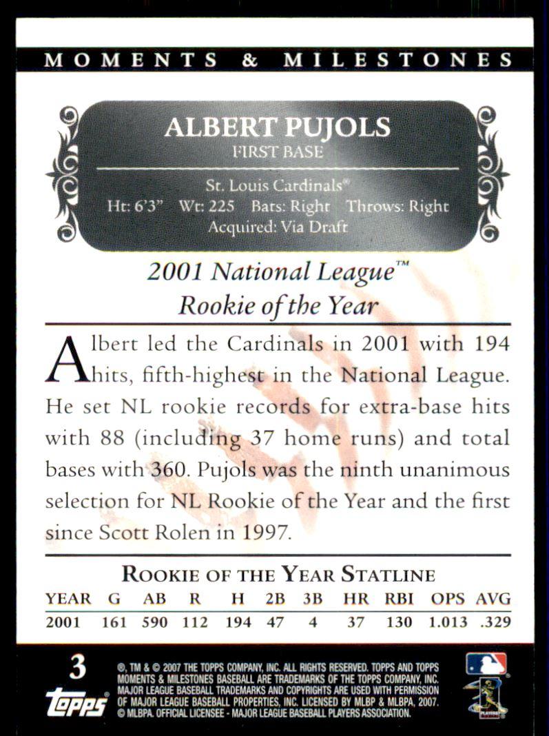 2007 Topps Moments and Milestones Black #3-60 Albert Pujols/Hit 60 back image
