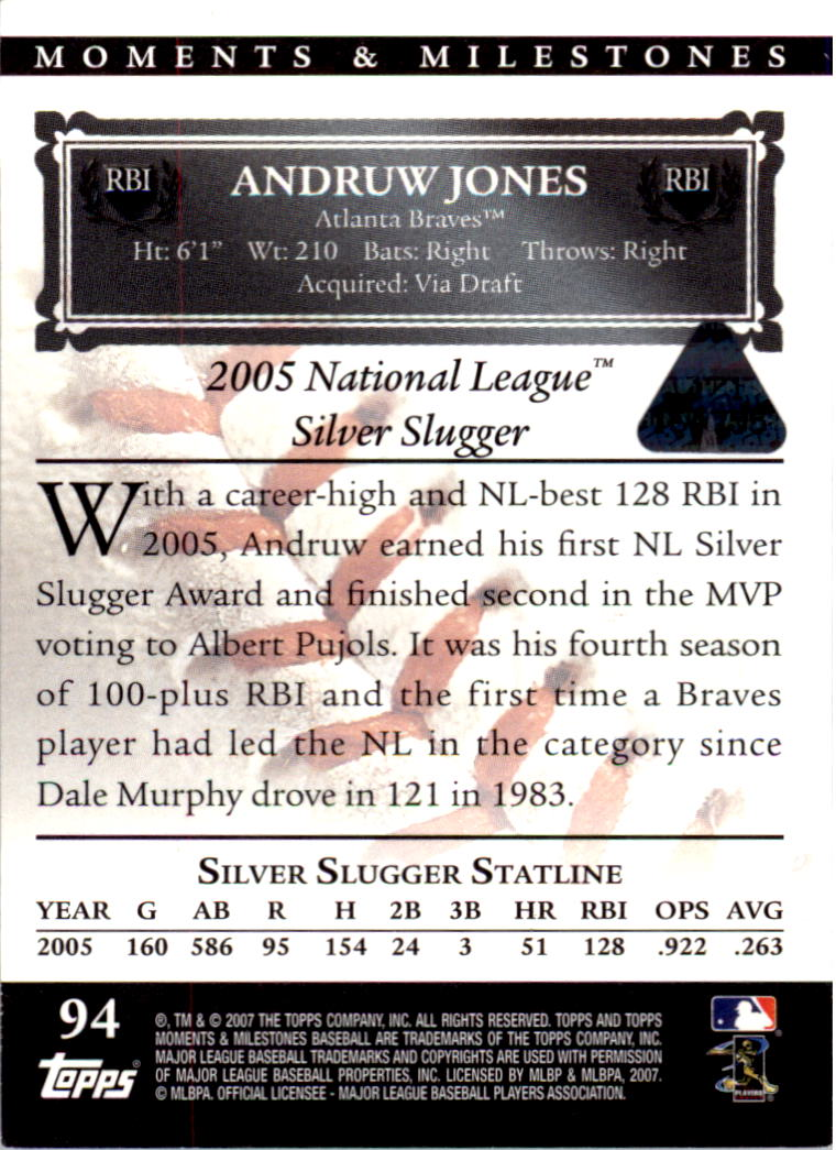 2007 Topps Moments and Milestones Red #94-3 Andruw Jones/RBI 3 back image