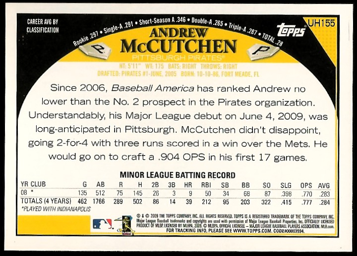 2009 Topps Update #UH155 Andrew McCutchen (RC) back image