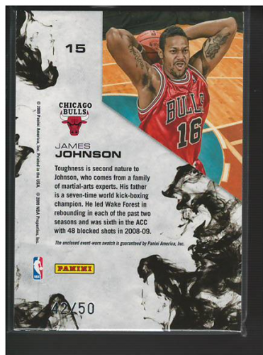 2009-10 Rookies and Stars Dress for Success Materials Prime #15 James Johnson back image