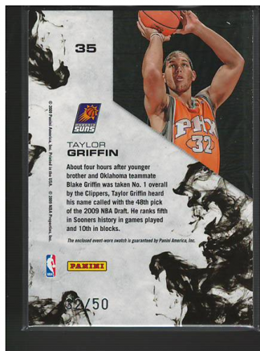 2009-10 Rookies and Stars Dress for Success Materials Prime #35 Taylor Griffin back image