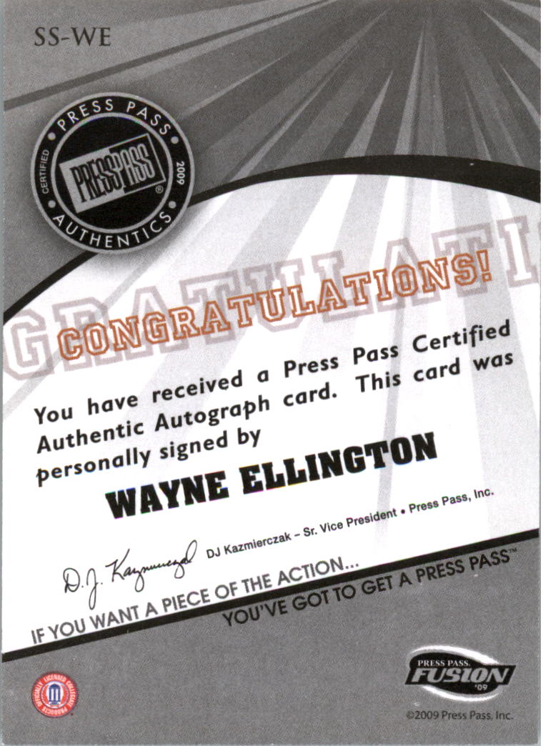 2009 Press Pass Fusion Autographs Silver #SSWE Wayne Ellington back image