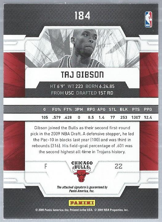 2009-10 Donruss Elite #184 Taj Gibson/199 AU RC back image