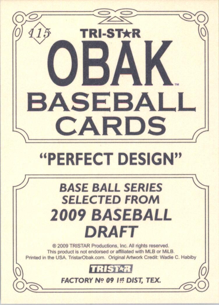 2009 TRISTAR Obak #115b Stephen Strasburg/1910 Superbass Back variation/Diamond around number back image