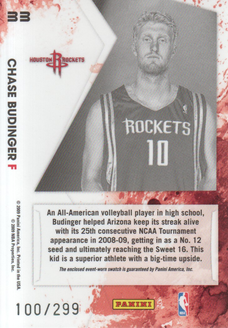2009-10 Rookies and Stars Longevity Freshman Orientation Materials Jerseys #33 Chase Budinger back image