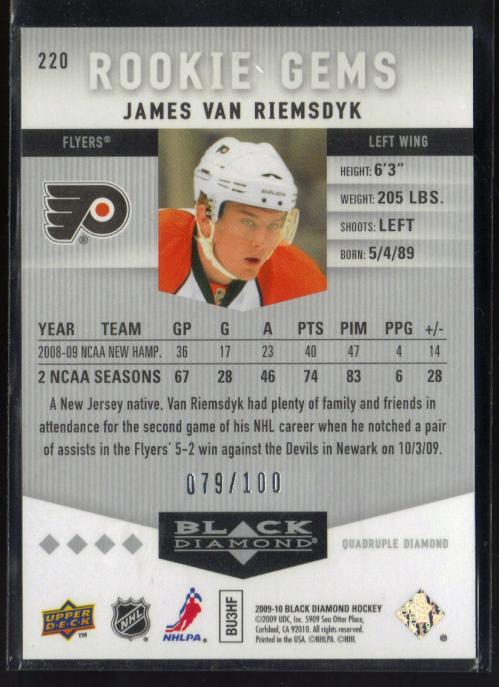 2009-10 Black Diamond Ruby #220 James van Riemsdyk back image